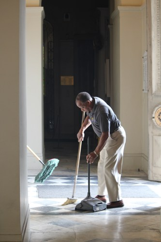 Sweeping up at St. Louis Cathedral