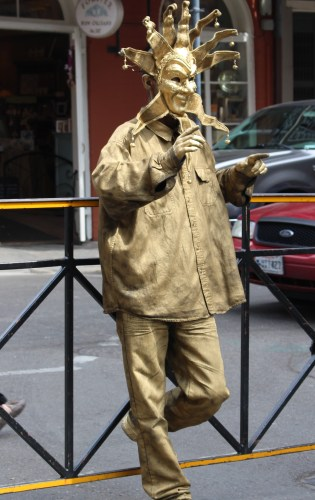 French Quarter Golden Man -- ready for pictures. And donations.