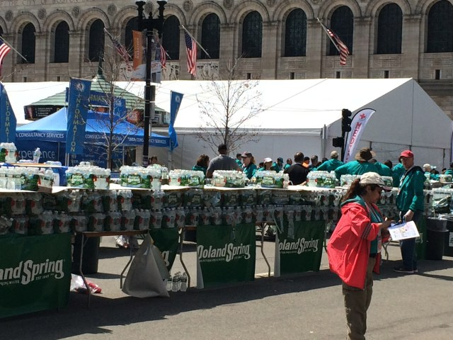 The water table at Boston Marathon 2016 -- the first thing finishers saw after the Finish Line.
