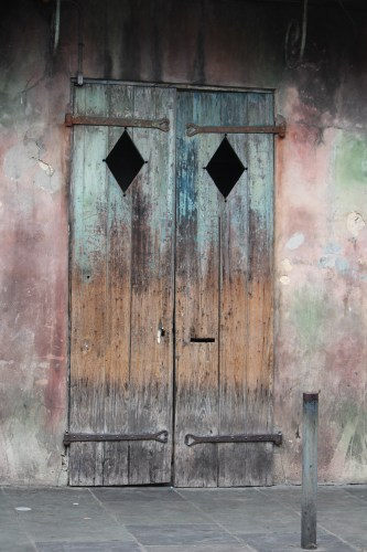 Doors with diamond cut-outs, French Quarter