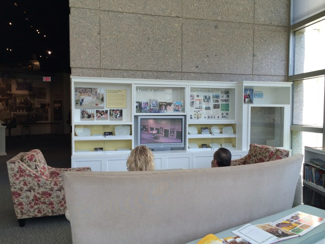 You are invited to take a seat and watch a video on Barbara Bush's emphasis on literacy in this comfy den setting.