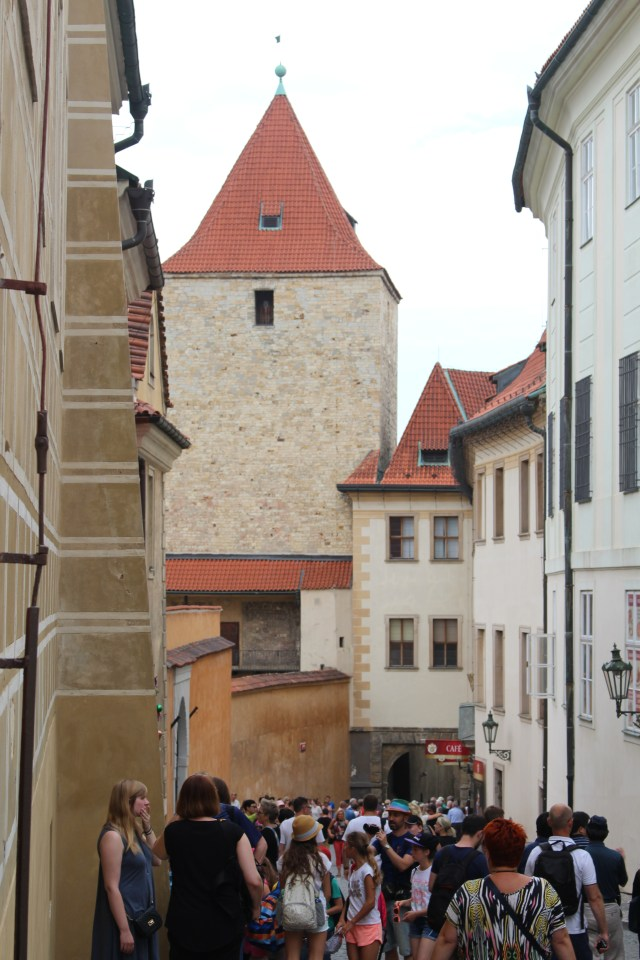 Wending our way through the narrow streets at Prague Castle.
