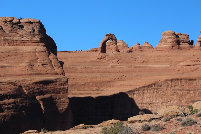 The view of Delicate Arch from across the canyon at Arches National Park