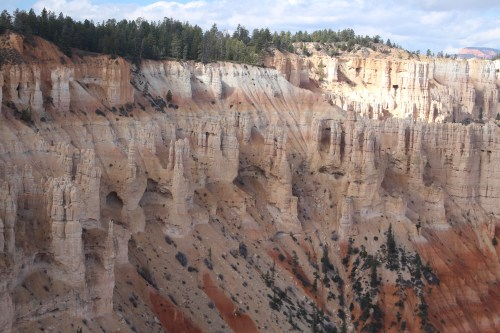 Variegated layers of stone on a Bryce Canyon bluff.