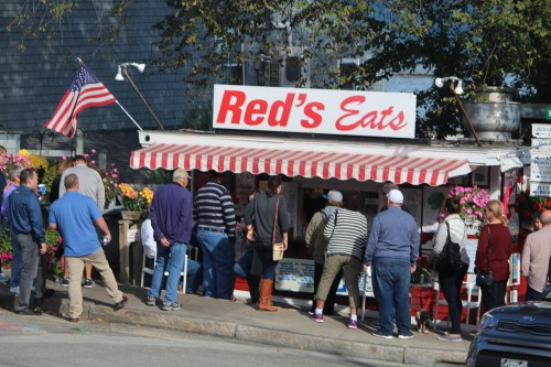Best lobster roll? Must be. Long line wraps all the way around Red's Eats, Wiscasset.