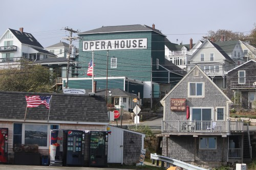The Opera House dominates the landscape of the town of Stonington, Maine.
