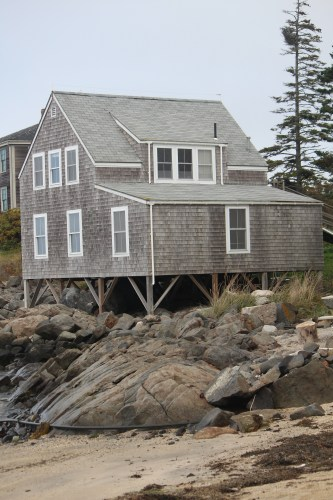 The quintessential shape and color: gray shingles, white window trim.