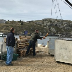 Unloading the goods at Monhegan's dock