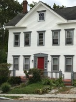 Gray trim, red door -- a Federal style home in Castine