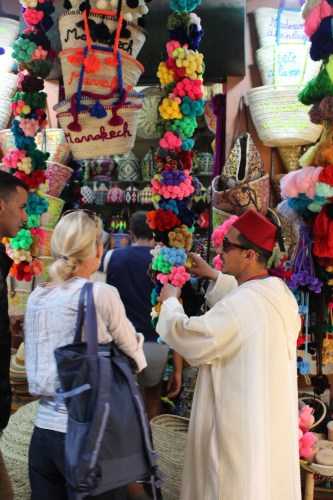 Pom poms and embroidered words on baskets were popular this summer in the Marrakech medina.
