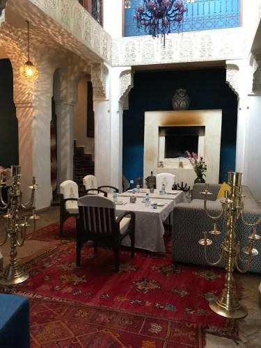Elegant dining at Riad Les Yeux Bleus