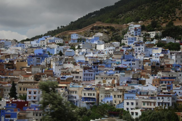 "From the highway going in to this city, this is the initial view of the colorful ""Blue Pearl"" of Morocco."