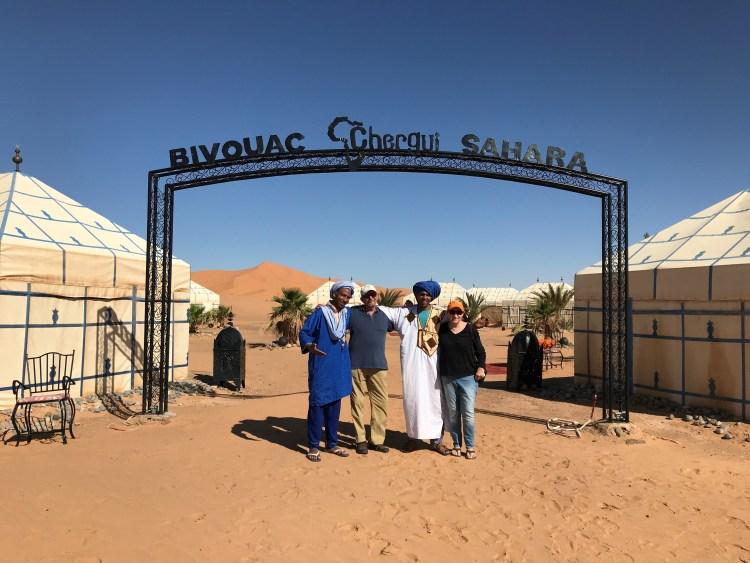 Saying good-bye at Bivouac Sahara, a perfect desert experience.