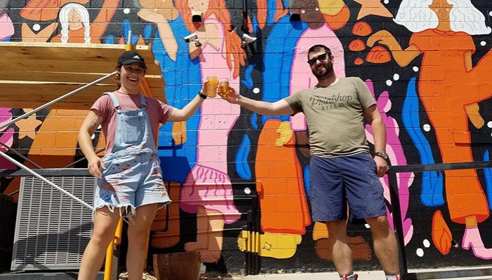Muralist Paris Woodhull & Steve of Print Shop Beer for Walls for Women