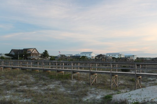 Wooden walkways, houses at North End, Pawleys Island SC