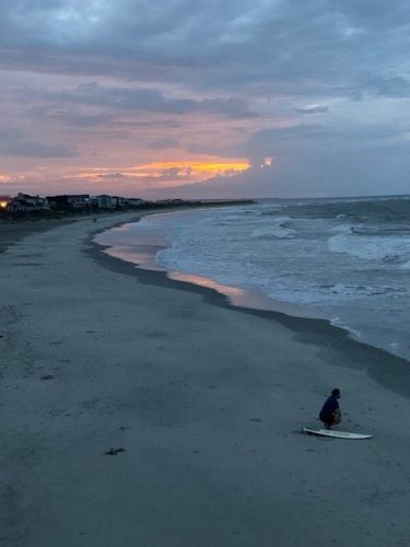Contemplating surfing at Pawleys Island North End