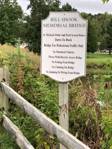Placard, Bill Shook Memorial Bridge, St. Michaels MD