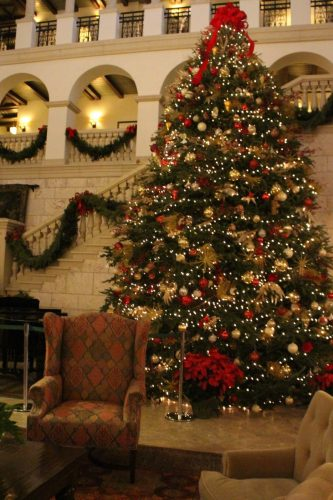Christmas tree in Great Room, The Cloister