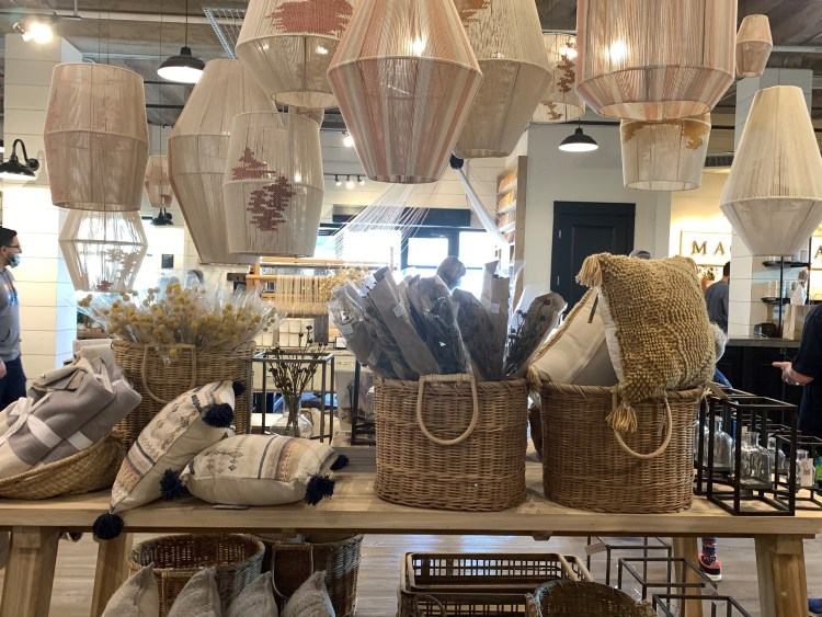 Baskets, lighting at Magnolia Market, Waco TX