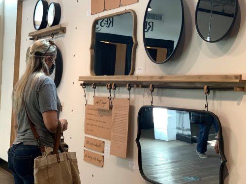 Mirrors on sale at Magnolia Market, Waco TX