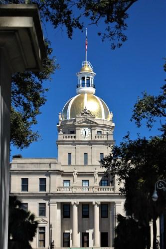 Savannah GA: view of City Hall from Johnson Square