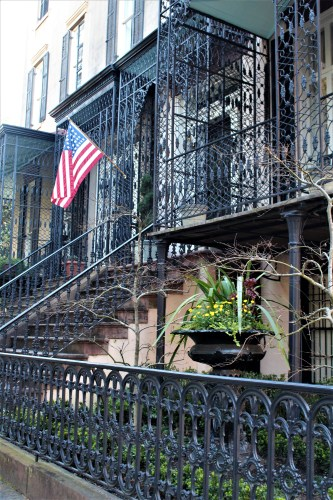 Savannah -- home with ironwork balconies