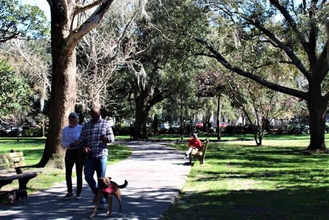 Savannah GA - people in park