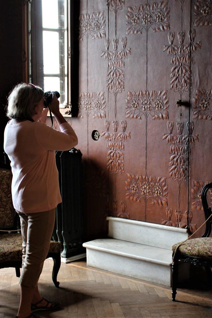 Tooled leather walls in Villa Monastero, Varenna, Italy