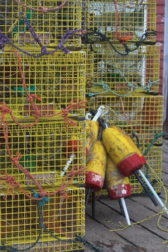 Maine: Lobster traps with buoys