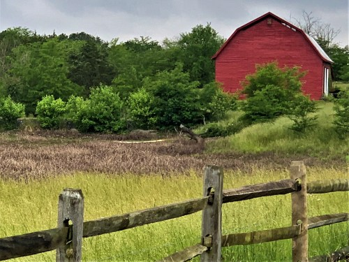 Red Virginia barn along the road