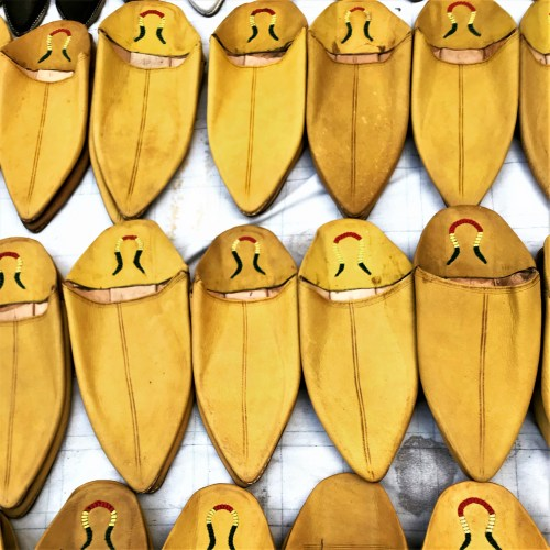 Yellow babouche slippers, Morocco