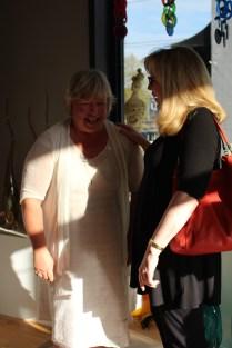 Kathie Odom talking to Renda Burkhart