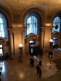 View of entry from 2nd story, Schwarzman Building, New York Public Library