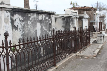 Varying styles of ironwork, St. Louis Cemetery 1, New Orleans