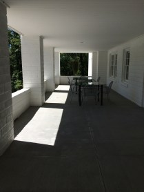 Shadows on the front porch form an artsy entrance to Penland School of Crafts.