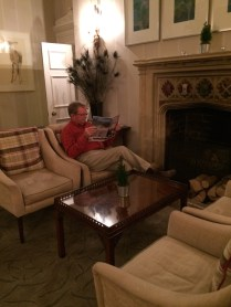 Comfortable spot near the fireplace at Lords of the Manor