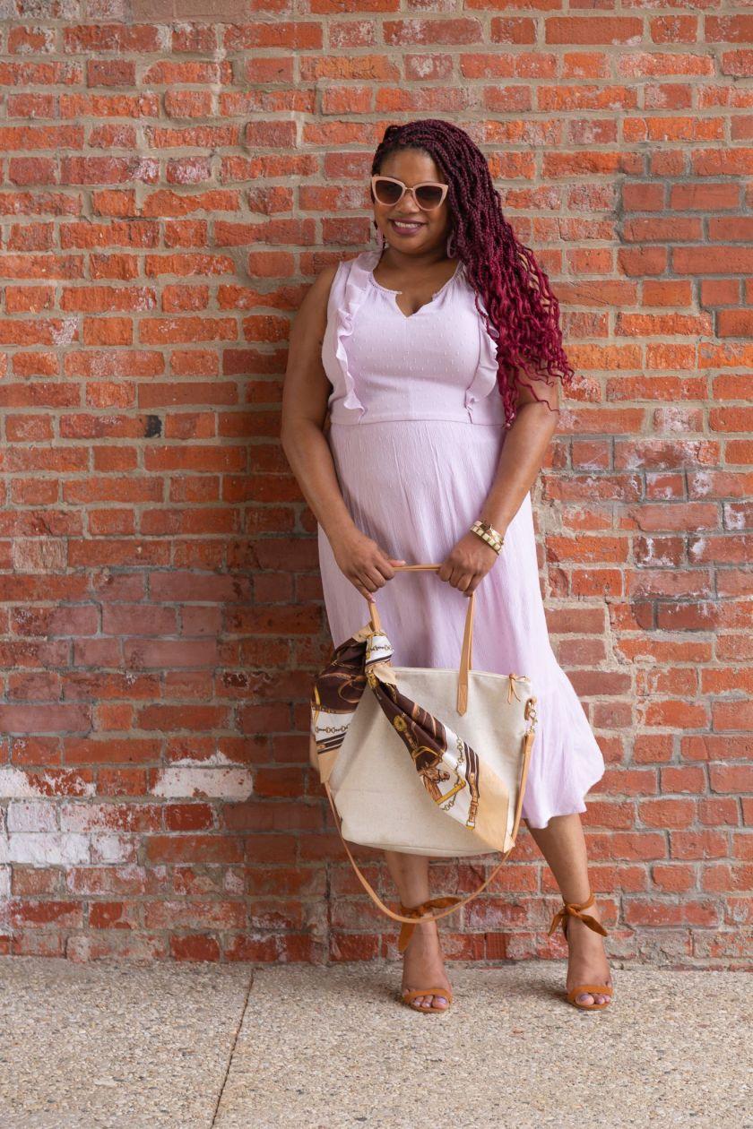 Waist-Defined Sleeveless Midi Dress for Women