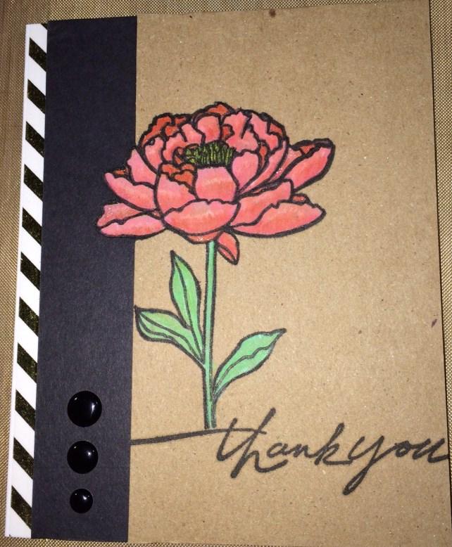 pink flower gold stripe card by cyndi