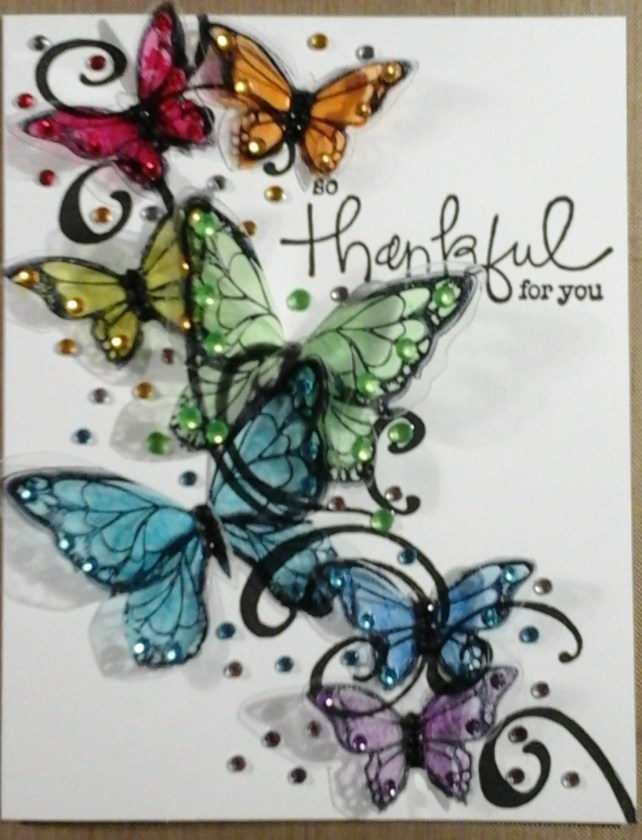 rainbow butterflies card by cyndi