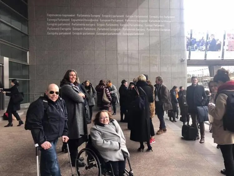 People at the entrance of EU parliament