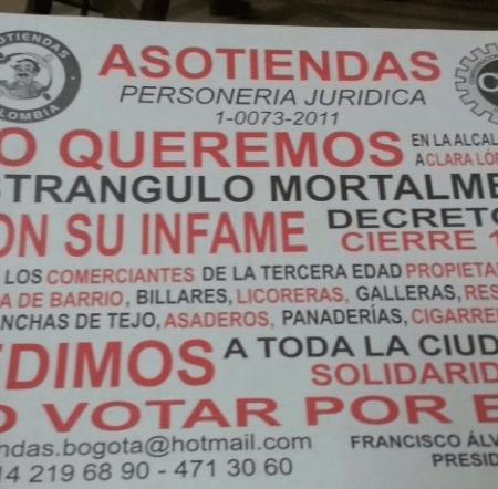 Tenderos en contra de Clara Lopez