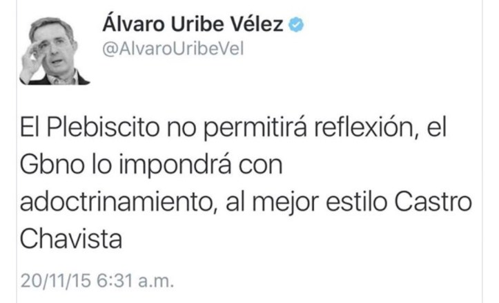 Advertencia de Uribe
