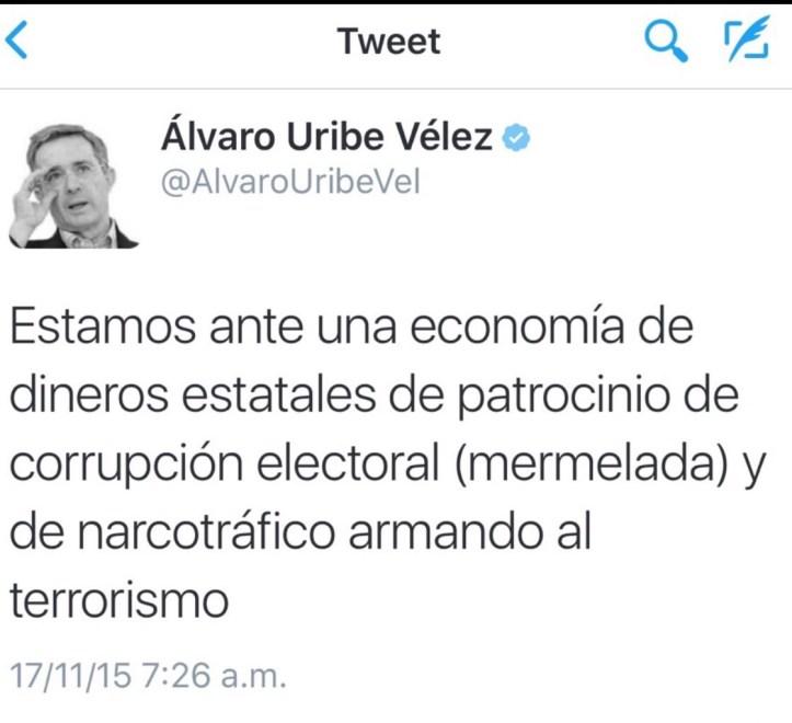 Tweet de Uribe 17 nov