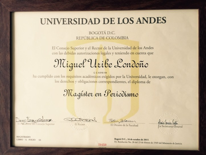 Diploma Miguel Uribe L