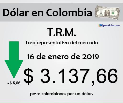 T.R.M. Colombia: pesos por 1 dólar, 16 de enero de 2019