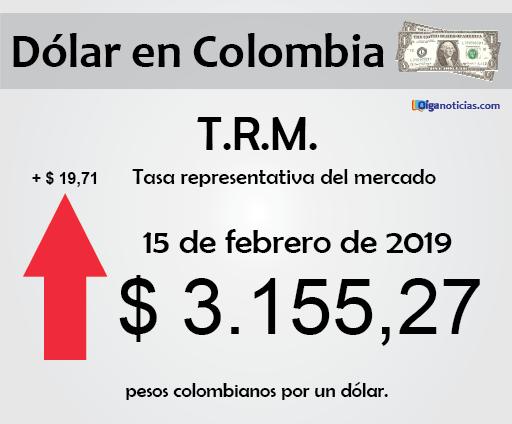 T.R.M. Colombia: pesos por 1 dólar, 15 de febrero de 2019