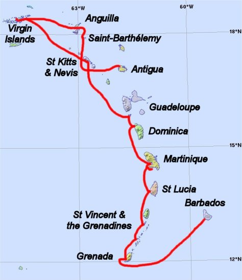 Lesser Antilles showing route