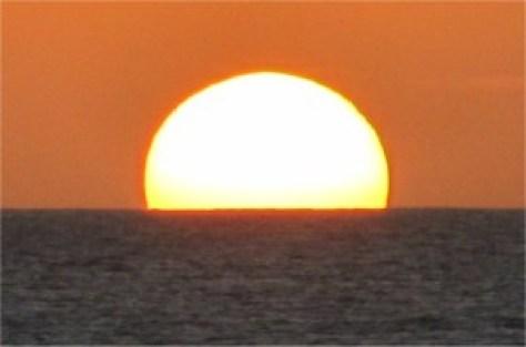 Setting sun, slight mirage