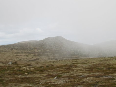 Cairn Bannoch disappears in the cloud