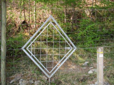 Gate in the fence, west end of Gilbert's Bridge, Glen Tilt